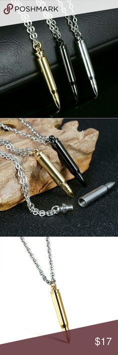 Bullet Pendant with Necklace - New in 3 colors Mens Jewelry - Titanium Stainless Steel Bullet Pendants Necklace - Silver,Black & Gold Link Chain Jewelry Necklaces