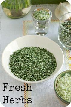 fresh herbs--thyme, dill, and parsley salt