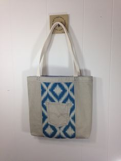 Upcycled Denim  & Upholstery Fabric Tote Bag - Blue by SavedbyKate on Etsy