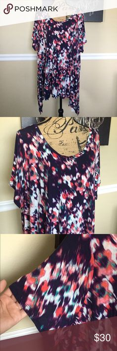 Blue A.n.a Top Gorgeous colorful top from A.n.a, size 3x. It is very lightweight, asymmetrical Blouse, in great condition a.n.a Tops Blouses