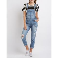 Refuge Distressed Denim Overalls ($40) ❤ liked on Polyvore featuring jumpsuits, medium wash denim, distressed overalls, shorts overalls, short overalls, bib overalls and overalls jumpsuit