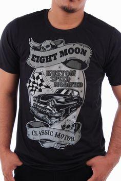 Eight Moon T-shirt Vintage Hot Rod Racing Pin Up Rockabilly