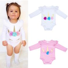 Baby Girl Unicorn Long Sleeve Romper