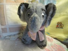 Sweet Vintage Gray and Pink Stuffed by Daysgonebytreasures on Etsy, $24.00