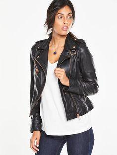Rose Gold Zip Biker Jacket by Very