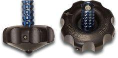 "Marfione Custom Knives 1.125"" Black DLC Titanium Spinning Top with Tritium Inlays and Blue Rod (USN G8)"