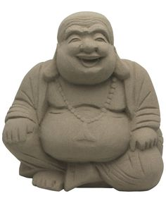 Textured finish on hand carved wood laughing Buddha statue. Measures 8 inches in height.