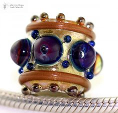 CHARM Bead GOLDEN SILVER PALACE Glass Lampwork Bead Handmade | beadsandbotanicals - Jewelry on ArtFire