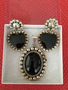 Beautiful Vintage Onyx and Sterling Jewelry Set by TheThunderBirdRanch on Etsy