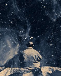 waiting on the stars 8x10 fine art surreal collage montage print.
