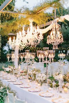 Glass Candelabra Wedding Centrepieces