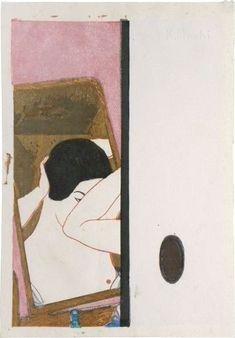 """poboh: """" 鏡 / Mirror, 1930, 恩地孝四郎 / Onchi Kôshirô. (1891 - 1955) Via """""""
