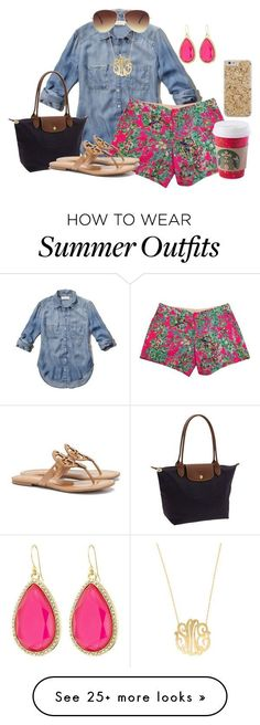 """""""Summer outfit"""" by flroasburn on Polyvore featuring Abercrombie & Fitch, Lilly Pulitzer, Longchamp, Tory Burch, Moon and Lola, Forever 21 and Kate Spade"""