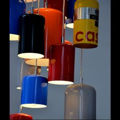"Pendant lights made from re-purposed fire extinguisher tanks. Lights are finished with high- gloss automotive paint in a range of colors. Available in two sizes- ""5lb"" and ""10lb"".Click to View Larger"