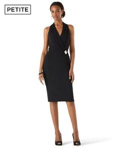 So simple, yet stunning. V-neck style and cut-in shoulders balance wider shoulders and curvy shape.