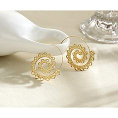 Gold plated flower carved swirl hook earrings Flower Plates, Plating, Carving, Bracelets, Flowers, Gold, Things To Sell, Jewelry, Design