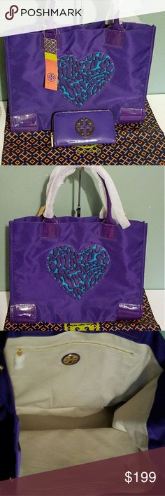NEW Tory Burch T Nylon Purple Heart Tote Large Tory Burch with Snap Expandable Sides. Rolled Leather Straps Gold Hardware   Purple Tory Burch Patent Leather Wallet is also available. Tory Burch Bags