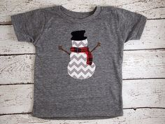 Snowman Holiday Shirt Christmas tee toddler baby chevron red plaid great present on Etsy, $31.00
