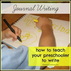 how to teach preschoolers to write the measured mom Preschool & Kindergarten Writing Lessons a new 10 part series! Preschool Journals, Kindergarten Writing, Preschool Kindergarten, Teaching Writing, Preschool Learning, Literacy Activities, Teaching Kids, Learning Letters, Preschool Ideas
