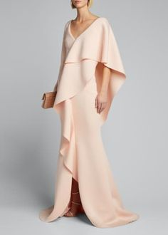 Badgley Mischka Collection V-Neck Long-Sleeve Asymmetric Ruffle Cape Shoulder Gown - Bergdorf Goodman Glamorous Evening Gowns, Evening Dresses, Plus Size Evening Gown, Long Sleeve Gown, Designer Gowns, Formal Gowns, Formal Wear, Badgley Mischka, Trendy Fashion