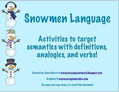 Snowmen Language Activities!