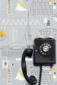 Festival by Mini Moderns UK / Their personal celebration of the 1951 Festival of Britain / Great colour Grey, yellow + white Modern Wallpaper, New Wallpaper, Wallpaper Backgrounds, Phone Wallpapers, Wallpaper Ideas, Cartoon Wallpaper, Desktop, Vintage Phones, Old Phone