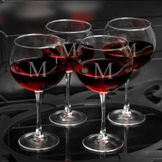 Monogram Initial Etched Red Wine Glass Set