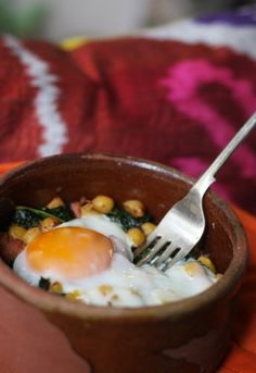 Recipe for One: Chickpeas, Kale, and Sausage with Oven-Baked Egg