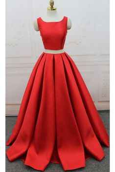 A Line One-piece Jewel Open Back Long Prom Dress,PL5136 on Luulla