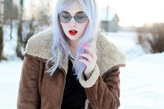 Martens, sunglasses Proopticals I LOVE the color of my hair right now. Lilac Hair, Hair Makeup, Hair Color, Jackets, Outfits, Dresses, Down Jackets, Vestidos, Haircolor