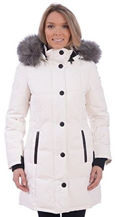 RedX Canada Womens Long Puffer Down Winter Coat with Faux Fur Lined Hood  White Medium  gt 60e5ed42e6
