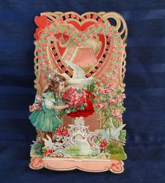 Wow! Antique Victorian Valentine Fold Out with Girl, Pink Roses, Doves, Honeycomb, made in Germany | eBay