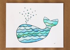 Whale Children's Art Print Whimsical watercolor by StudioKWN