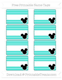 Free Turquoise Horizontal Striped Mickey Mouse Name Tags