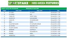 #SportStake13 Midweek Fixtures - 20 June 2018  https://www.playcasino.co.za/sportstake-mid-week-fixtures.html
