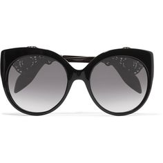 Alexander McQueen Cat-eye filigree-embellished acetate sunglasses (12 470 ZAR) ❤ liked on Polyvore featuring accessories, eyewear, sunglasses, black, heart shaped glasses, acetate sunglasses, oversized cateye sunglasses, heart sunglasses and heart glasses