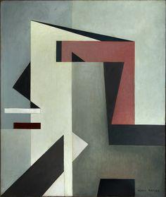 'Composizione G.R.U 35/B (Composizione n. 85)' (1937) by Italian painter Mario Radice (1898-1987). Oil on cardboard, 76 x 66 cm. via Palazzo Strozzi