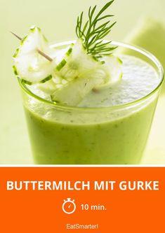 Buttermilch mit Gurke - schnelles Rezept - einfaches Gericht - So gesund ist das Rezept: 9,4/10 | Eine Rezeptidee von EAT SMARTER | Diäten, Buttermilch-Diät, Detox-Diät, Eiweiß-Diät, Schlank im Schlaf Diät, Trennkost-Diät, Gesunde Ernährung, Ohne Alkohol, Getränke, Milch, Mixgetränk, Gemüsesaft, Shake #gemüse #gesunderezepte Eat Smarter, Pudding, Desserts, Food, Healthy Recipes, Eat Clean Breakfast, Healthy Food, Tailgate Desserts, Deserts