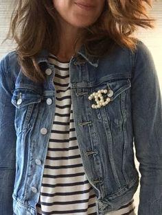 Jean jacket Chanel brooch