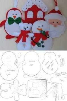 Décorations de personnages en feutrine - PATRON: Felt Templates, Penguins, Christmas Stockings, Gingerbread, Snowman, Feltro, Stitches, Felt Fabric, Felt Board Templates