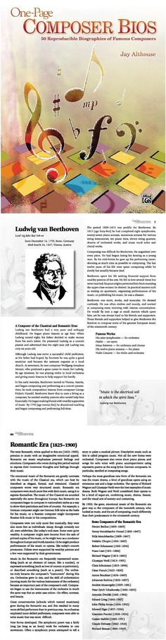 One-Page Composer Bios is a 100% reproducible book containing brief, informative, and interesting one-page biographies of 50 of history's greatest composers. Use these easy-to-read bios as a complete course in composers or music history---studying as many or as few composers as you wish---or use them as supplemental material in the music classroom. #music #education #teaching