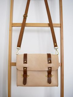 Nude and Brown Leather Messenger Style Shoulder bag