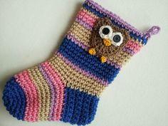 Crochet Baby Owl Christmas Stocking