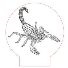Scorpion illusion vector file for CNC - 3d Illusion Art, Cnc Laser, 3d Light, Pattern Illustration, 3d Paper, 3d Animation, Vector File, Plexus Products, Zentangle