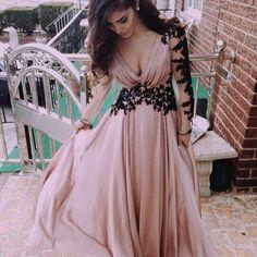 Blush pink long sleeves chiffon prom dress with black lace