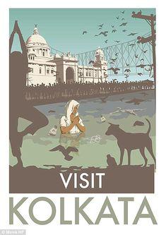 Visit Calcutta - Monk HF - i-decided-to-make-some-accurate-travelling-vintage-posters-kolkata Maldives Tourism, Calcutta, Minimal Travel, India Poster, Tourism Poster, Vintage Travel Posters, Destinations, India Travel, Kolkata