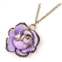 Beautiful Loren Purple RoseNecklace.  Beautiful Gold trim measures 1 - 1/2 inches and hangs from a 28 inch chain.  Every piece is brand new and made with the highest quality materials.  Thank you for taking the time to look at my yard sale.  Good Lu...