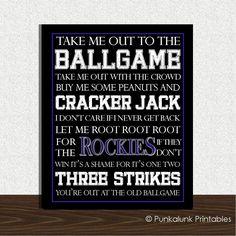 Colorado Rockies Baseball Subway Art - Take Me Out to the Ballgame - 8x10 - Baseball Art Print. $14.95, via Etsy.