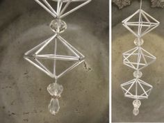 Another interesting combination of shapes for himmeli-type ornaments. Could use glass tube beads, straws, or brass tubing. Put beads in between prisms for a long, dangling ornament. Pretty L, Handmade Ornaments, Glass Beads, Christmas Crafts, Helmet, Dangles, Brass, Shapes, Creative