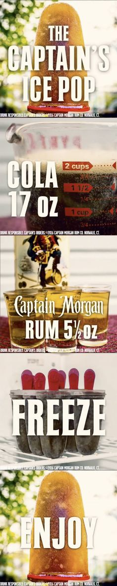 Introducing the Captain Ice Pop, it's everything you need to cool down your summer: 5.5 oz Captain Morgan Original Spiced Rum 17 oz Cola Get more summer rum recipes at https://us.captainmorgan.com/rum-cocktails/?utm_source=pinterest&utm_medium=social&utm_term=summer&utm_content=captain_ice_pop&utm_campaign=recipe
